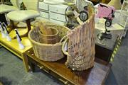 Sale 8013 - Lot 1095 - Cane Basket, Cane Kindling Wood Basket, Bamboo Wind Chimes & Timber Bucket