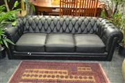 Sale 8156 - Lot 1016 - Black 3 Seater Chesterfield Style Lounge