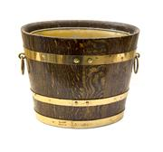Sale 8224A - Lot 76 - An early French oak oval shaped wine / champagne bucket with metal liner, 24 x 30 cm