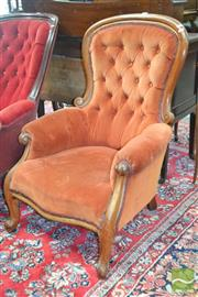 Sale 8255 - Lot 1042 - Victorian Mahogany Armchair, the balloon back upholstered in orange buttoned velvet