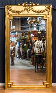 Sale 8287A - Lot 6 - An imposing gilded Henri II mirror with superb hand carved detail featuring bow & ribbon detail. Beautiful gold leaf finish, 225cm h...