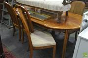 Sale 8326 - Lot 1460 - Timber Extension Dining Setting Table incl. Two Leaves & 6 Highback Chairs