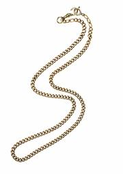 Sale 8357 - Lot 342 - A VINTAGE 15CT GOLD CURB CHAIN; attached with a swivel  (faulty spring) and a 9ct bolt ring clasp, unmarked, length 49cm, wt. 27.2g.