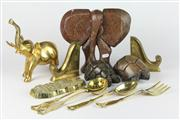 Sale 8445 - Lot 40 - Brass Elephant with Other Wares incl Stone Turtle