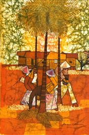 Sale 8467 - Lot 567 - Kwan Chin (1946 - ) - Untitled (By the Palm Trees) 74.5 x 48.5cm