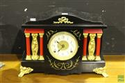 Sale 8499 - Lot 1001 - Empire Style Timber Cased Mantle Clock (key and pendulum in back)