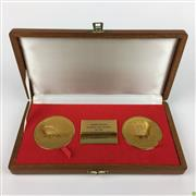 Sale 8562R - Lot 245 - Commemorative Medals for the Opening and Closure of the Mater Misericordiae Hospital North Sydney, in Timber Case (W: 24.5cm)