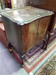 Sale 8657 - Lot 1073 - Glass Top Timber Side Cabinet