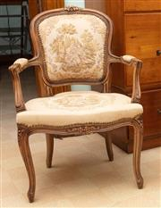 Sale 8795A - Lot 60 - A vintage French Louis XVI style beech wood bergere C: 1940. The carved and shaped beech wood frame upholstered with scenes of lover...