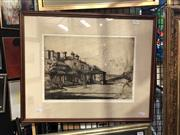 Sale 8841 - Lot 2024 - Sydney Long 'Cranbrook School' etching and aquatint (AF) 24.5 x 35cm, signed -