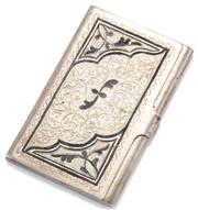 Sale 8946 - Lot 388 - A RUSSIAN SILVER ENGRAVED CARD CASE; featuring blackened floral highlights, size 94.5 x 60.7 x 7.8mm.