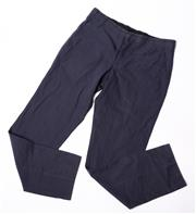 Sale 9003F - Lot 75 - A pair of Hermes cotton mix pants in navy, size 10