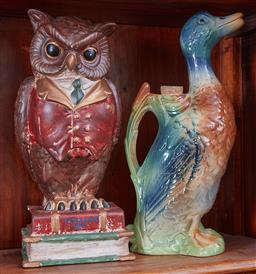 Sale 9103H - Lot 19 - Two large ceramic pieces including an owl money box and a duck decanter, Height 32cm