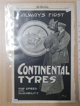 Sale 9152 - Lot 2336 - Collection of Continental Tyres & Michelin Adverts. from The Bulletin