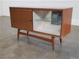 Sale 9188 - Lot 1226 - Vintage timber sideboard on raised legs (h71 x w121 x d40cm)