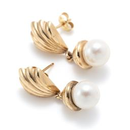 Sale 9253J - Lot 370 - A PAIR OF 9CT GOLD FAUX PEARL EARRINGS; each a 7.8mm faux pearl to gold cap and fan shape stud fitting, size 28 x 10mm, wt. 2.59g.