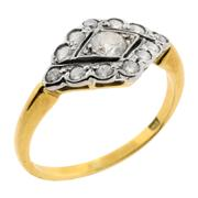 Sale 7995 - Lot 311 - AN 18CT GOLD DIAMOND RING; centring a round brilliant cut diamond estimated at 0.15ct to a surround of twelve round brilliant cut di...