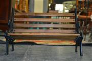 Sale 8093 - Lot 1132 - Small Decorative Bench w Iron Ends & Timber Framed Vinyl Upholstered Stool