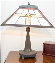 Sale 8308A - Lot 150 - A pair of Arts and Crafts design table lamps with leadlight shades. Ht with shade: 48cm