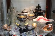Sale 8360 - Lot 120 - Murano Art Glass Dish with Other Decorative Wares incl Miniature Stove and Silver Plate 3 Piece Tea Set