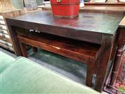 Sale 8611 - Lot 1039 - Dining Table & Two Timber Benches (3)