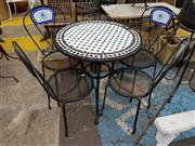 Sale 8740 - Lot 1207 - Mosaic Tile Top Outdoor Table & Four Chairs