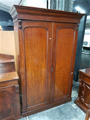 Sale 8792 - Lot 1011 - Late 19th Century Cedar Wardrobe with two panelled doors, enclosing a hanging section, the other with slides and a drawer (H: 214 W:...