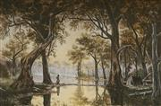 Sale 8847 - Lot 581 - Colonial School - Aborginal camp by the Murrary River 42 x 65cm