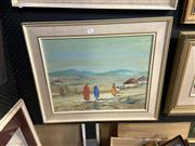 Sale 8891 - Lot 2087 - E Eborall - African Scene, Figures Returning Home, oil on board, 54 x 63.5cm (frame), signed