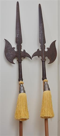 Sale 9103M - Lot 418 - A pair of Pole Axes fitted on timber, Height 245cm