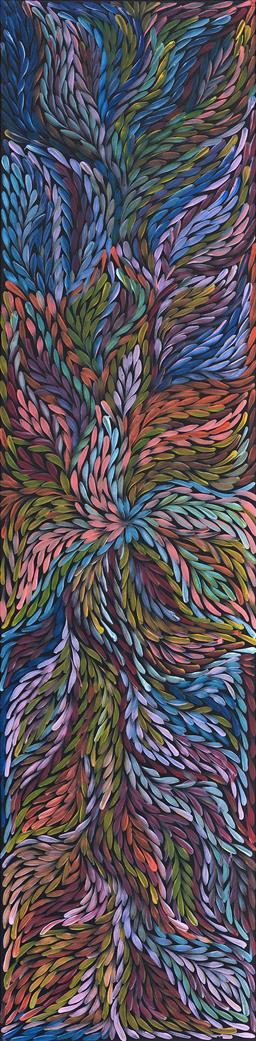 Sale 9128A - Lot 5087 - Rosemary (Pitjara) Petyarre (c1965 - ) - Yam Leaf Dreaming 200 x 49 cm (stretched and ready to hang)