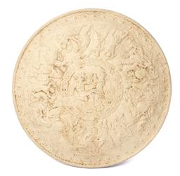 Sale 9135H - Lot 131 - A 19th Century terracotta plaque with fine detailing, signed to rear: 50cm Diameter
