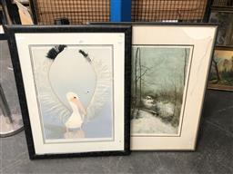 Sale 9147 - Lot 2078 - Artist Unknown (Europe) Cottages in the Forest etching ed. 112/185, together with a collage screenprint of a Pelican