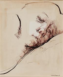 Sale 9256A - Lot 5042 - MARGARET WOODWARD (1938 - ) - The Sleepy Model pastel, ink and watercolour 16.5 x 14.5 cm (frame: 48 x 45 x 4 cm)