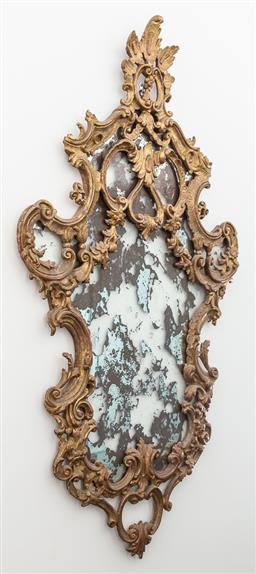 Sale 9160H - Lot 241 - An exquisite antique French gilt frame with husk, foliage scrolled and pomegranite carving to panelling, Height 137cm x Width 76cm,...