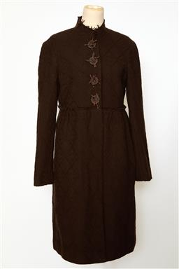 Sale 9095F - Lot 10 - A Lisa Ho long brown patterned wool coat with detailed buttons, size 10.