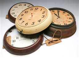 Sale 9168 - Lot 17 - A collection of vintage wall clock faces and casings (for parts, some from govt department buildings)