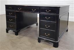 Sale 9210 - Lot 1029 - Painted timber twin pedestal desk with 9 drawers (h79 x w153 x d96cm)