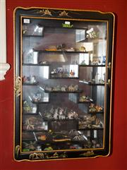 Sale 7962B - Lot 95 - Chinoiserie Black and Gilt Lacquer Wall Display Cabinet with Collection of Animal Figures
