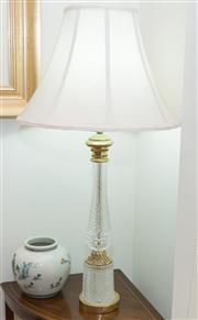 Sale 8308A - Lot 78 - A quality tall gilt metal and lead crystal fancy table lamp. Ht: 79cm