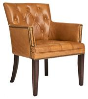 Sale 8342A - Lot 197 - A button back armchair with brass stud detailing, Full Grain Cow Hide Leather. H 85 x W 64 x D 68cm