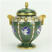 Sale 8393B - Lot 59 - Royal Worcester Green Lidded Vase