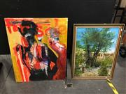 Sale 8750 - Lot 2061 - 2 Works: N.J. - Watering the Garden, oil & Artist Unknown - Abstract Figures