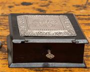 Sale 8942H - Lot 19 - A square timber box with embossed hallmarked silver, maker EJH Birmingham with cherubs heads embossed to front