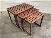 Sale 9063 - Lot 1024 - Nest of 3 Timber Tables (h:46 x w:72 x d:42cm)