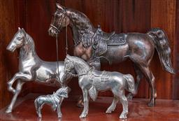 Sale 9103H - Lot 20 - Four assorted metal horse studies, Height of tallest 25cm