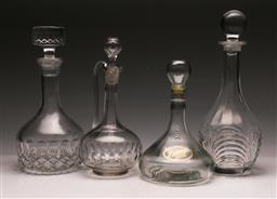 Sale 9128 - Lot 98 - A Collection of 4 Glass Decanters (tallest H: 33cm)