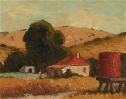 Sale 9161 - Lot 511 - ROLAND WAKELIN (1887 - 1971) Untitled (Farm Scene),1951 oil on card 17 x 21.5 cm (frame: 34 x 37 x 2 cm) signed and dated lower left...