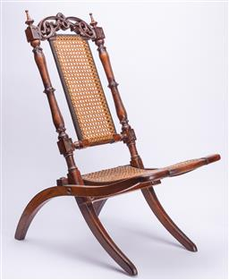 Sale 9185E - Lot 122 - A vintage walnut folding deck chair with rattan seat, Height 105cm
