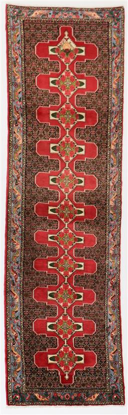 Sale 9181C - Lot 29 - A traditional fine Senneh Noth Persian Runner in blue and coral tones 340 x 100cm